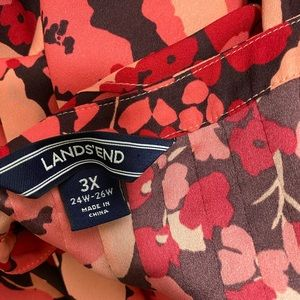 Lands' End Tops - Lands End Pink Red Floral Blouse